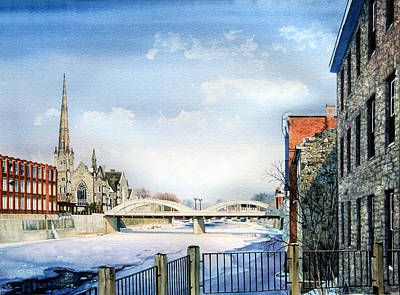 Cambridge Painting - Frozen Shadows On The Grand by Hanne Lore Koehler