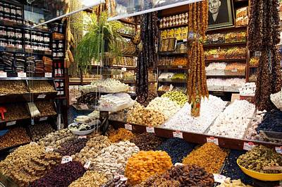 Fruit And Nuts Market Stall, Istanbul Print by Jeremy Walker