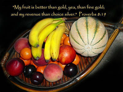 Fruit And Proverbs 8 Print by Cindy Wright