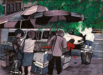 Fruit Vendor Brooklyn Nyc Print by Al Goldfarb