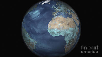 Full Earth Showing Evaporation Print by Stocktrek Images