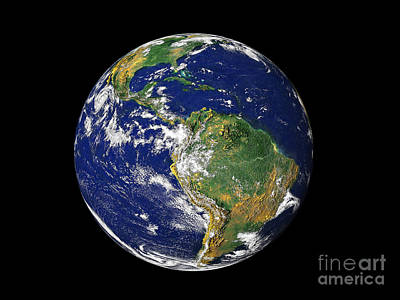 Terrestrial Sphere Photograph - Full Earth Showing South America by Stocktrek Images