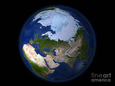 Terrestrial Sphere Photograph - Full Earth Showing The Arctic Region by Stocktrek Images
