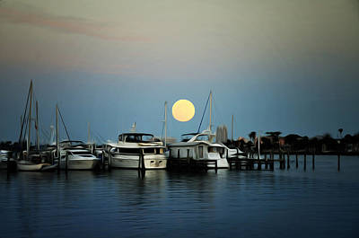 Full Moon At Clearwater Marina Print by Bill Cannon