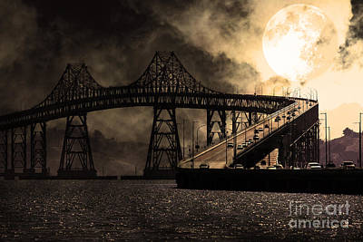Full Moon Surreal Night At The Bay Area Richmond-san Rafael Bridge - 5d18440 - Sepia Print by Wingsdomain Art and Photography