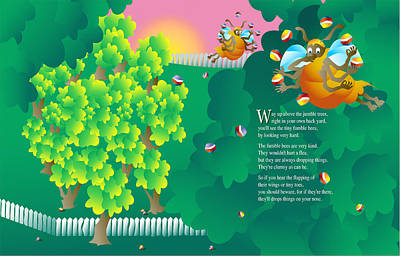 Fumble Bees Print by Gene Rosner