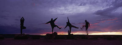 Funny Poses, Yoga And Sunset Print by Bill Hatcher
