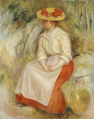 Gabrielle In A Straw Hat Print by Pierre Auguste Renoir