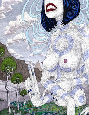 Hindu Goddess Drawing - Gaia by Jeremy Baum