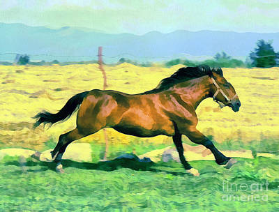 Gold Lame Painting - Gallope by Odon Czintos