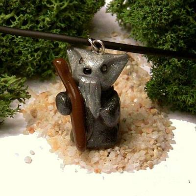 Polymer Clay Jewelry - Gandalf Kitty Wizard Lord Of The Rings Parody Necklace by Pet Serrano