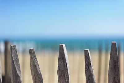 Ganivelles At Ste Maxime Beach, Golfe De St-tropez Print by Alexandre Fundone