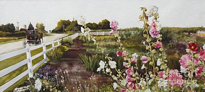 Hollyhock Digital Art - Garden Of Edith by Kelly Morrow