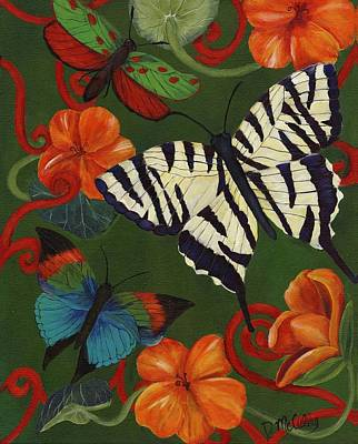 Striped Butterfly Painting - Garden Party IIi by Debbie McCulley