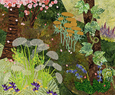 Fabric Mixed Media - Garden Path by Julia Berkley