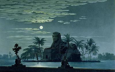 Garden Scene With The Sphinx In Moonlight Print by KF Schinkel