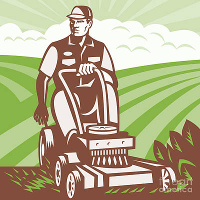 Workers Digital Art - Gardener Landscaper Riding Lawn Mower Retro by Aloysius Patrimonio