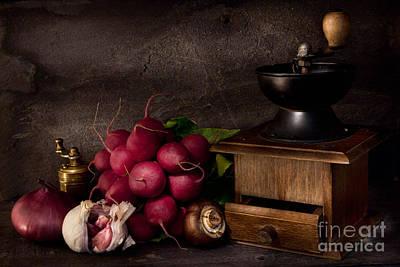Garlic And Radishes Print by Ann Garrett