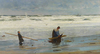 Deep Blue Painting - Gathering Driftwood by William Lionel Wyllie