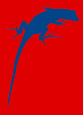 Gecko Silhouette Red Blue Print by Ramona Johnston