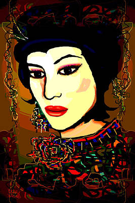 Gold Earrings Mixed Media - Geisha 5 by Natalie Holland