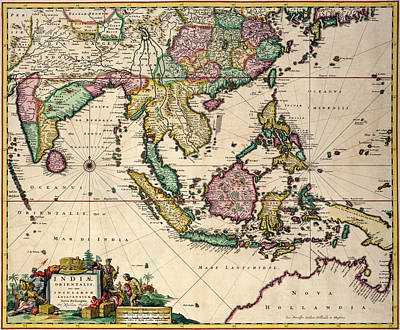 General Map Extending From India And Ceylon To Northwestern Australia By Way Of Southern Japan Print by Nicolaes Visscher Claes Jansz