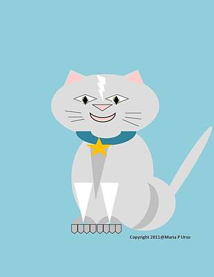 Geo Smiley Cat Print by Maria Urso