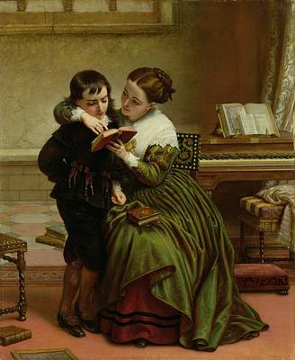 Music Book Painting - George Herbert And His Mother by Charles West Cope