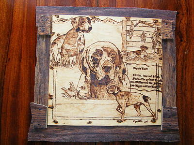 German Pointer -fine Art Pyrography On Birch Wood Plaque Print by Egri George-Christian