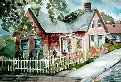 Sidewalk Drawing - German Village House by Mindy Newman