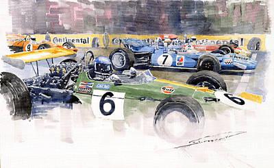 Motor Racing Painting - Germany Gp Nurburgring 1969 by Yuriy  Shevchuk