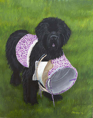 Newfie Painting - Get Me Out Of This Thing by Sharon Nummer