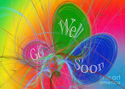 Fractal Digital Art - Get Well Soon Balloons by Andee Design