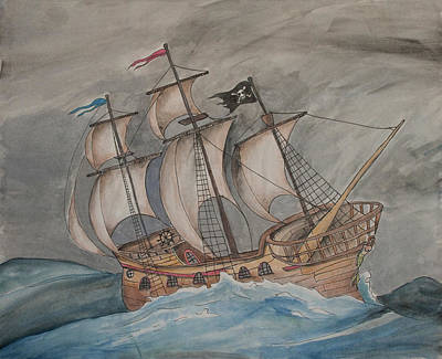 Stormy Weather Drawing - Ghost Pirate Ship by Jaime Haney