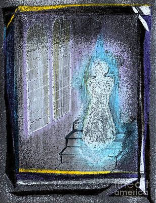 Ectoplasm Drawing - Ghost Stories Haunted Stairs by First Star Art
