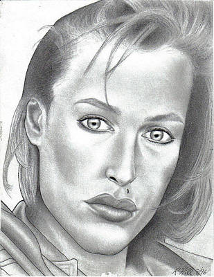 Tattoo Stencils Drawing - Gillian Anderson by Rick Hill