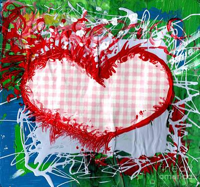 Gingham Crazy Heart Print by Genevieve Esson