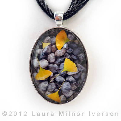 Ginkgo Leaves On Gray Stones Pendant Original by Laura Iverson