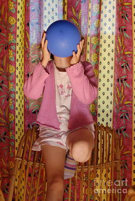 Girl Blowing Up Balloon Print by Sami Sarkis