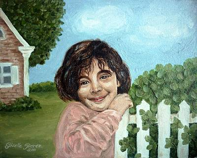 Gizelle Perez Painting - Girl By The Fence by Gizelle Perez
