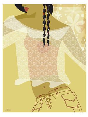 Girl In Lace Print by Lisa Henderling