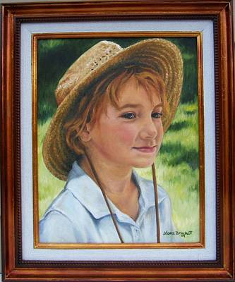 Portrait Painting - Girl In Straw Hat Framed by Lori Brackett