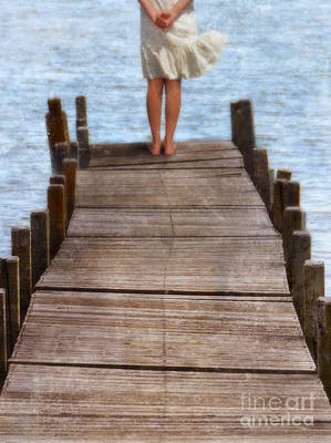 Girl Standing At The End Of A Dock Print by Jill Battaglia