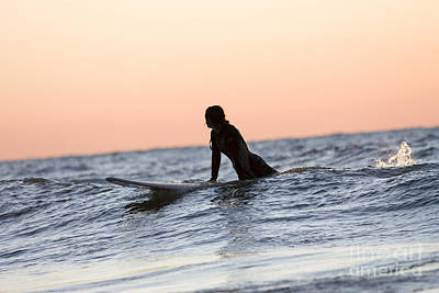 Girl Surfer Catching A Wave In Lake Michigan Print by Christopher Purcell