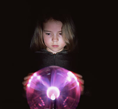 Girl Touching A Plasma Globe Print by Kevin Curtis