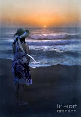 Girl Watching The Sun Go Down At The Ocean Print by Jill Battaglia
