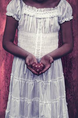 Girl With A Heart Print by Joana Kruse