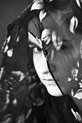 Girl With A Rose Veil 2 Bw Print by Angelina Vick