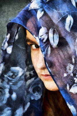 Haunting Mixed Media - Girl With A Rose Veil 2 Illustration by Angelina Vick