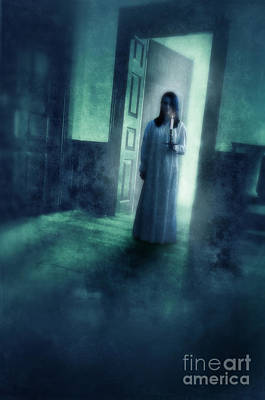 Girl With Candle In Doorway Print by Jill Battaglia